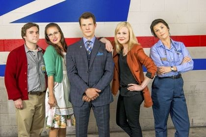 "'Signed, Sealed, Delivered' The cast of ""Signed, Sealed, Delivered"" includes, from left, Geoff Gustafson, Crystal Lowe, Eric Mabius, Kristin Booth and Daphne Zuniga."