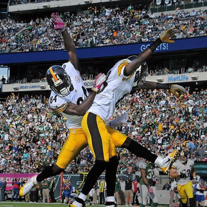 Steelers wide receiver Antonio Brown Steelers wide receiver Antonio Brown celebrates touchdown catch by Emmanuel Sanders in the third quarter against the Jets.