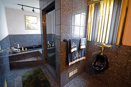 "That bathroom ""almost looks like a vault That bathroom ""almost looks like a vault when you walk in,"" thanks to its expanse of black diamond granite, another detail Mr. Caprino insisted upon."