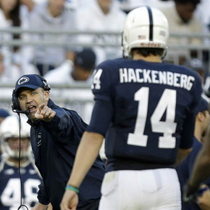 psu mich wire 4 Penn State head coach Bill O'Brien, left, points to quarterback Christian Hackenberg during a time out in a game last month against Michigan.