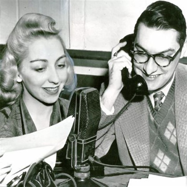 "AM radio personalities in Pittsburgh Wendy and Ed King, shown in 1957, started their ""Party Line"" talk show in 1951 on KDKA."