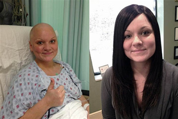 Before and after Before and after photos of Morgan Moser, a 30-year-old breast cancer survivor. The wig was donated to her by Hair Peace Charities run by CBS traffic anchor Bonny Diver, who does traffic reports for KDKA radio, among other stations.