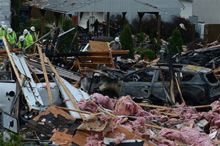 wva explode 2 An explosion caused extensive damage to some homes in Follansbee, W.Va., south of Weirton.