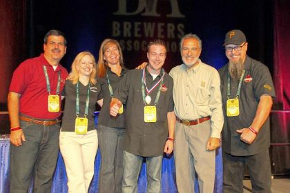 Penn Brewery crew The Penn Brewery crew getting its bronze medal for chocolate beer at the Great American Beer Festival in Denver. That's Brewers Association president Charlie Papazian, second from right.
