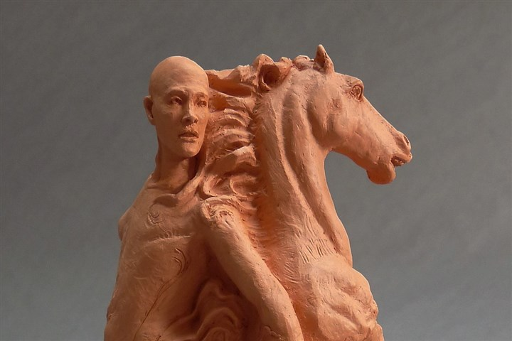 "'Self Portrait' ""Self Portrait with Horse and Skeleton,"" terracotta, 2011, by Cydra Vaux."