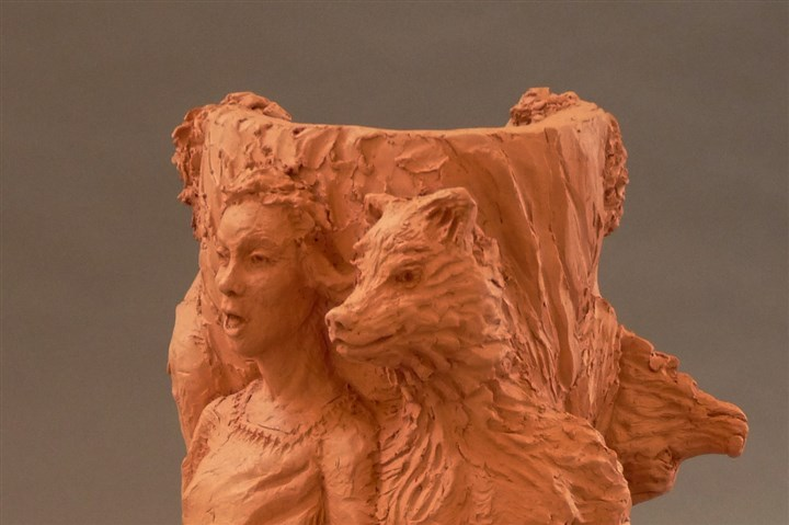 "'Wolf' "" Self Portrait with Wolf ,"" terracotta, 2013, by Cydra Vaux."