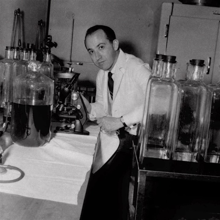 Dr. Jonas Salk Dr. Jonas Salk at work in Pittsburgh's Municipal Hospital laboratory on April 18, 1955.