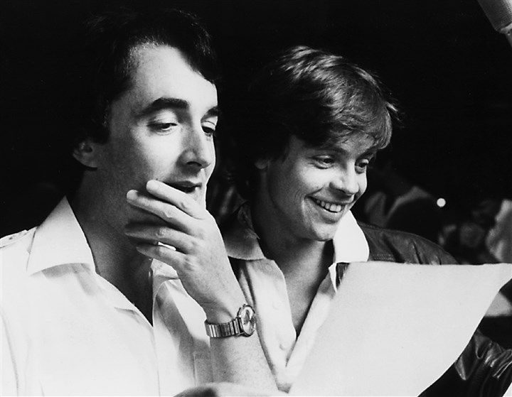 "StarWarsMag02-1 Behind the mikes during the recording of the In 1980, actors Anthony Daniels, left, and Mark Hamill provided the voices of their ""Star Wars"" movie characters, C-3PO and Luke Skywalker, respectively, for ""Star Wars, the Original Radio Drama."""