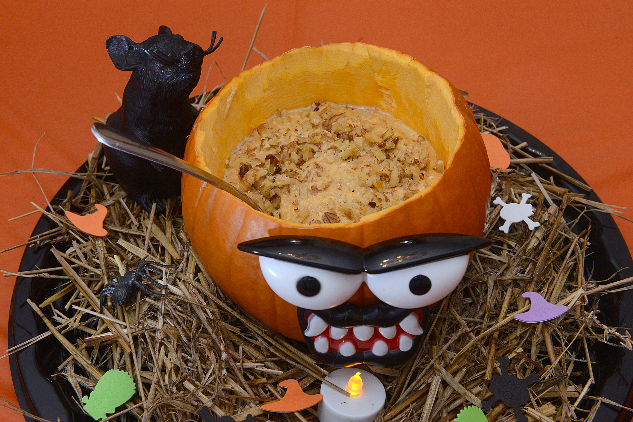 Pumpkin dip Pumpkin dip with cream cheese, nuts, pumpkin pie spice, and cinnamon.