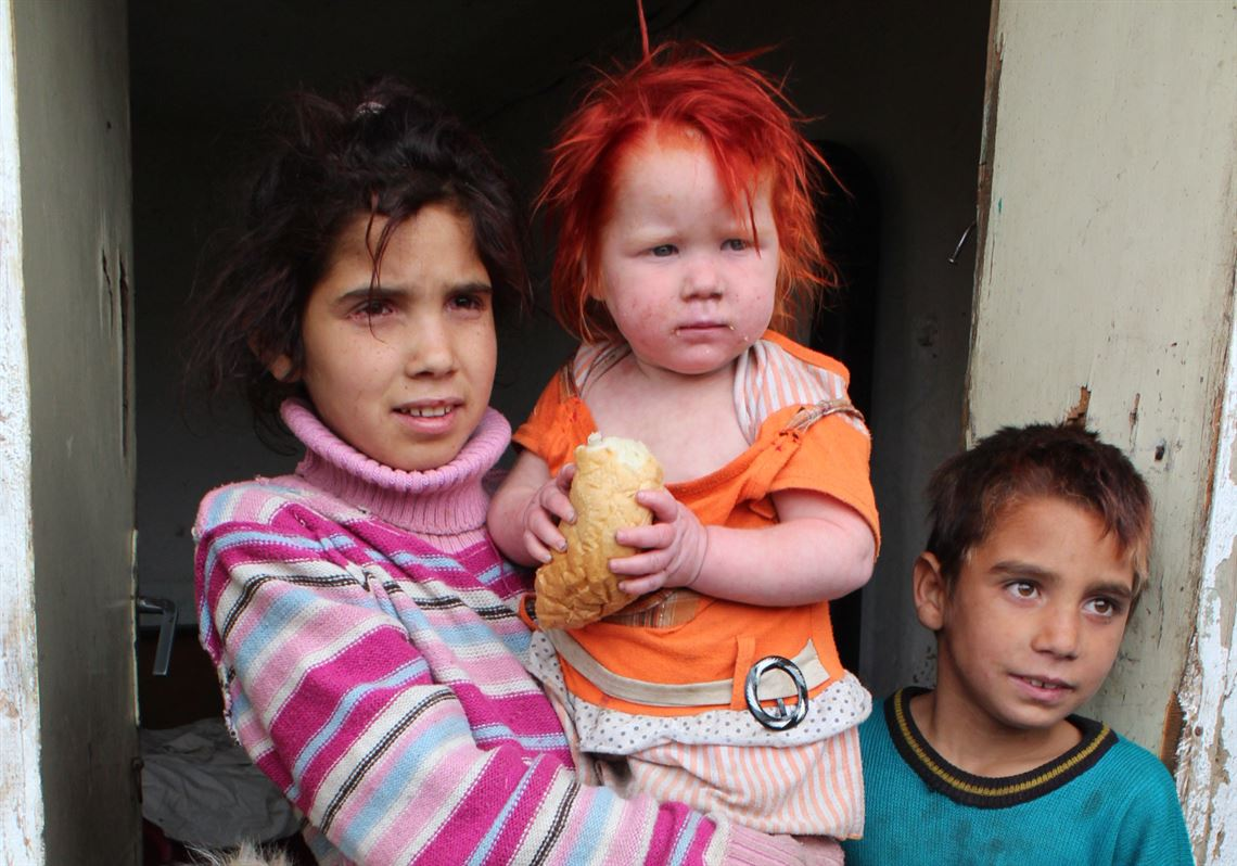 Four of the children of the Ruseva family, from left, 3-year-