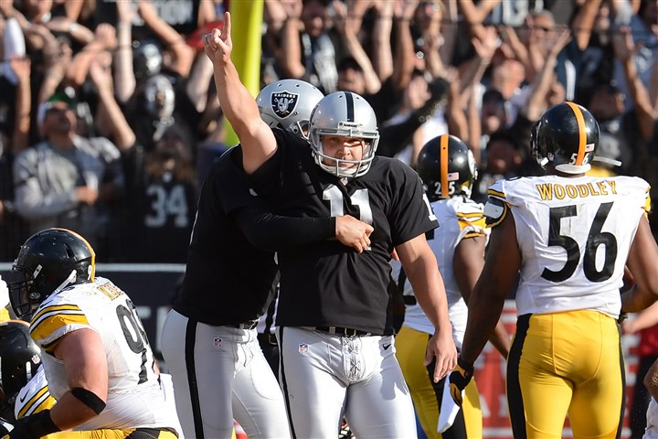 janikowski1027 Veteran Oakland kicker Sebastian Janikowski celebrates after kicking a field goal to beat the Steelers last season.