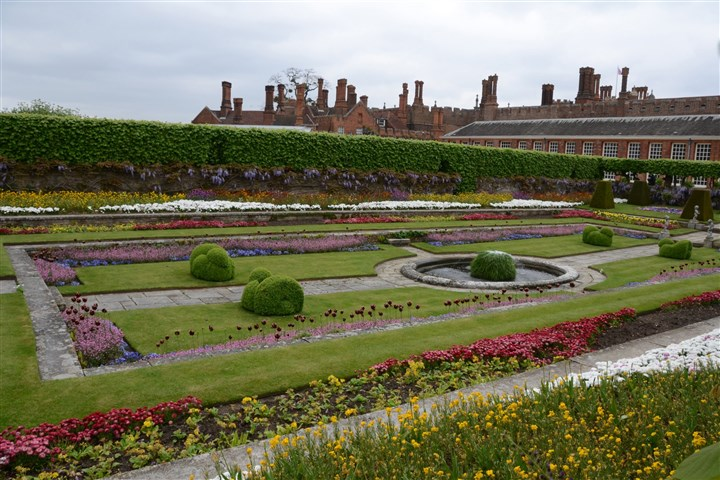 20131025DOhamptonoverallMAG-2 One of the formal gardens at Hampton Court Palace in London.