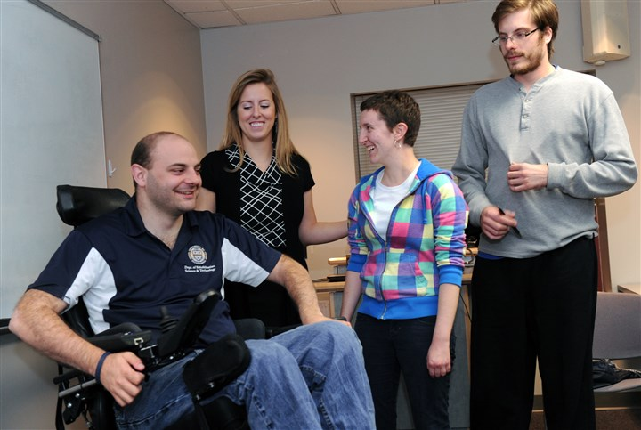 John Heller / Post-Gazette Student disability advocacy group at University of Pittsburgh - student officers - Jon Duvall, left, Kelly Beck, Jess Kurs-Lasky, Nathan Hogaboom, right.