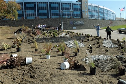 Baldwin High The start of installation of a tiered rain garden and observation deck at Baldwin High School began Saturday.