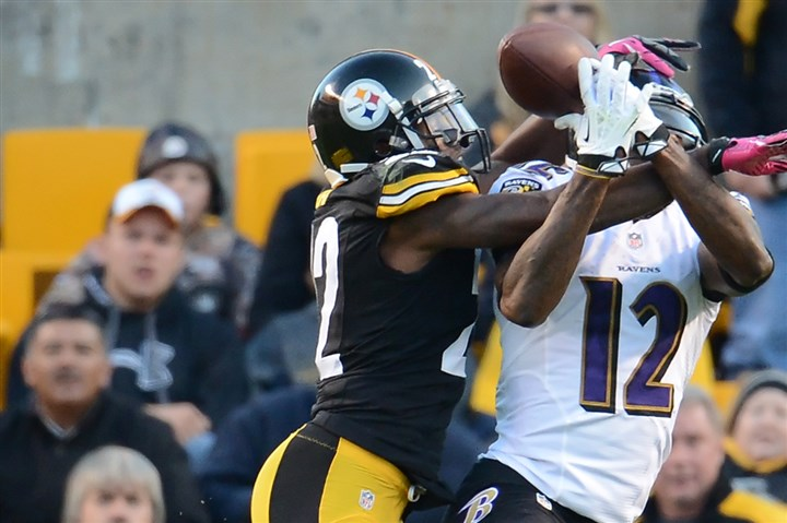 pd11Steelers102013  William Gay breaks up pass intended for Ravens receiver Jacoby Jones in the fourth quarter Sunday at Heinz Field.
