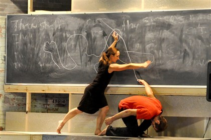"chalklinereview Attack Theatre dancers Ashley Williams and Simon Thomas-Train in ""The Chalk Line."""