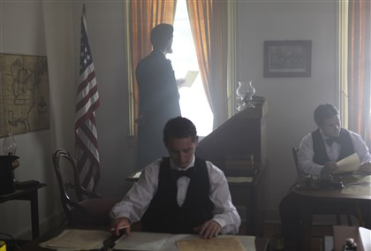 "LincolnGettys-3 Actors depicting President Abraham Lincoln and telegraph operators for PBS special ""Lincoln@Gettysburg."""