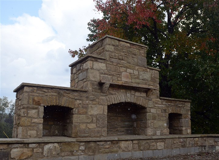 PittsburghBotanicGardenMag08-7 An outdoor fireplace at the Pittsburgh Botanic Garden.