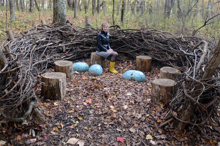PittsburghBotanicGardenMag04-3 Kitty Vagley, Director of Development for the Pittsburgh Botanic Garden, is seated in the Bird Nest, an installment that is part of the 60-acre Woodlands of the World section of the Garden, which is oriented for family education.