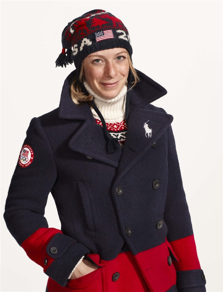 hoLaurenMag1 American skier Hannah Kearney in models Team USA's closing ceremony parade uniform designed by Ralph Lauren.
