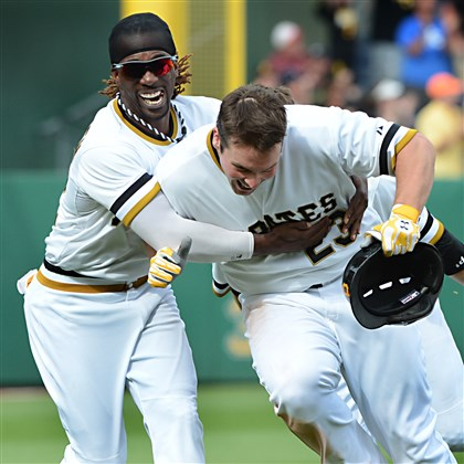 Andrew McCutchen chases down Travis Snider  Andrew McCutchen chases down Travis Snider after Snider beat the Reds.