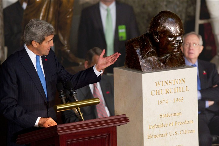 20131031apChurchill  Secretary of State John Kerry speaks Wednesday in Statuary Hall in Washington during a ceremony to dedicate a bust of Winston Churchill. Senate and House leaders, including Senate Majority Leader Harry Reid of Nevada, right,. also took part.