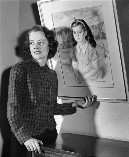Black02 Prominent Pittsburgh families sought out local artist Elizabeth Black, left, to paint their children. In this 1941 picture, the artist stands next to a portrait she did of 9-year-old Kathleen Knight, who wore a yellow dress and was age 9 when she sat for the artist. Mrs. Knight now lives in Greenwich, Conn.