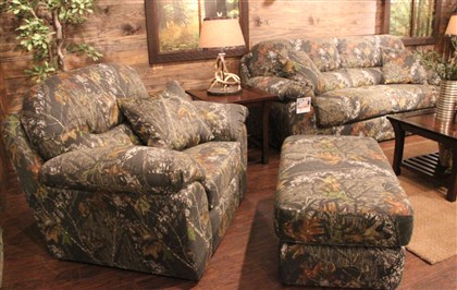 "Dynasty furniture Club chair, ottoman and pull out sleeper sofa all in camo by Jackson Furniture for the ""Duck Dynast"" Collection -- credit Patricia Sheridan"