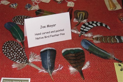 20131101HOhannastown12EAST Bird feathers handcrafted from wood by Joe Moyar, Greensburg.