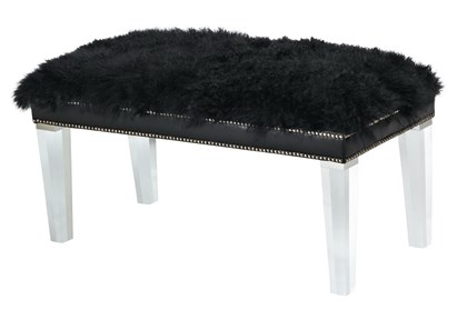 Bench Mongolian sheepskin wool bench with lucite legs by Massoud Furniture.