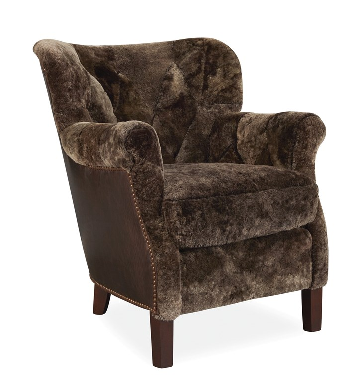 chair They are shearling and leather chairs from Lee Industries.