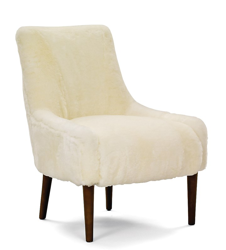 furry7-3 Mary accent chair by Mitchell Gold + Bob Williams in shearling wool.