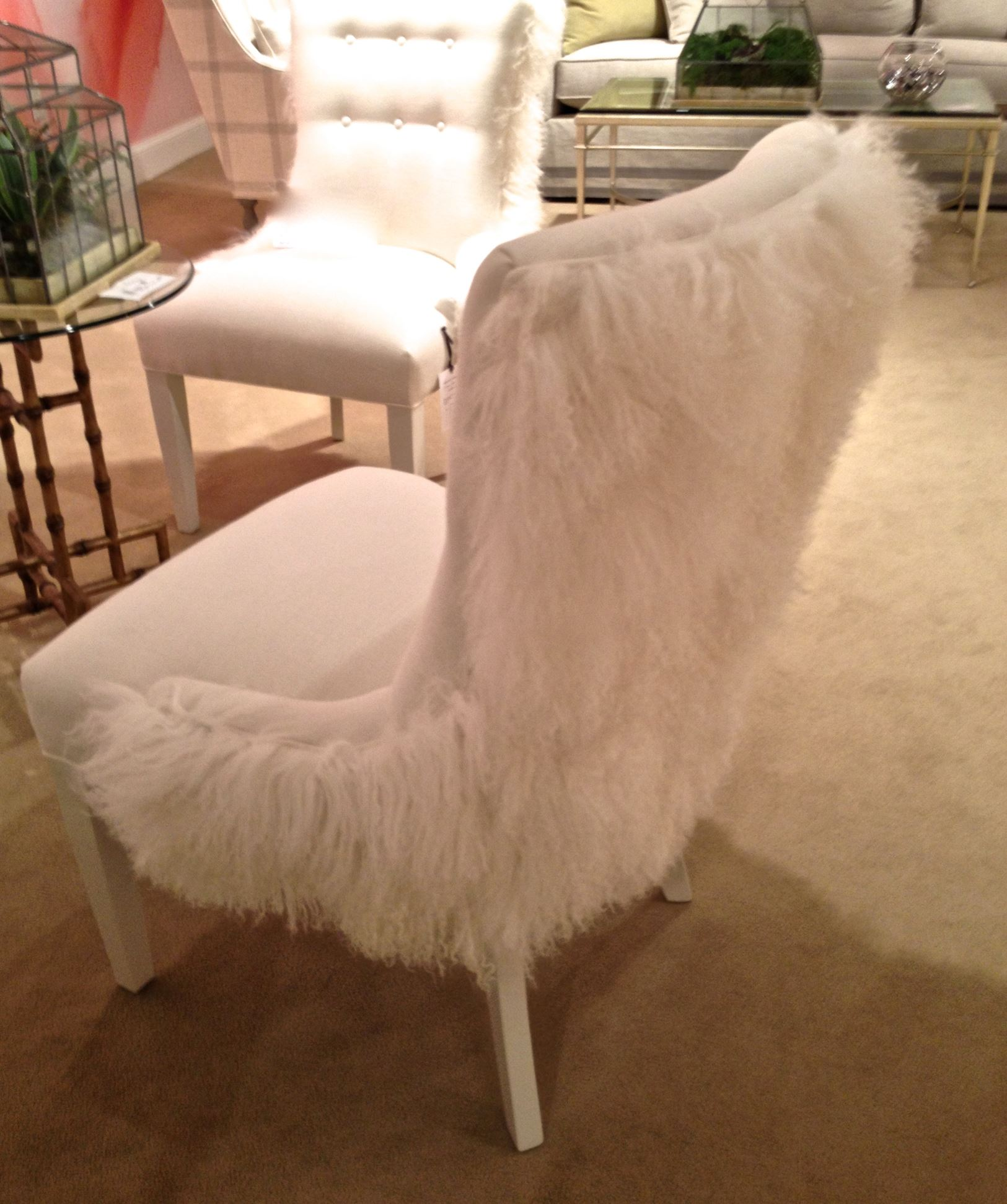 Wool Coverings Showing Up On Stools Chairs And Benches At