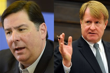 20131102pedutofitzgerald.jpg Democratic mayoral contender Bill Peduto, left, and Allegheny County Executive Rich Fitzgerald