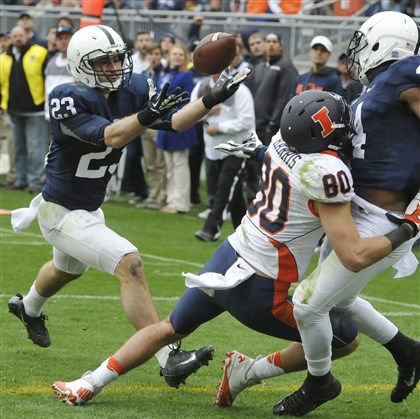 keiser1104-4 Penn State's Ryan Keiser intercepts an Illinois pass at the goal line in overtime of Penn State's 24-17 win in State College, Pa., on Saturday.