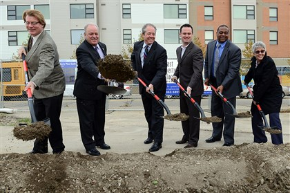 20131104radELibertySouthLocal01 Ceremonial groundbreaking for the East Liberty Place South residential and retail development on Penn Ave in East Liberty. From left: James Eby of The Community Builders; U.S. Rep. Mike Doyle; Bart Mitchell of The Community Builders; Mayor Luke Ravenstahl; state Rep. Ed Gainey; and Beverly Bates of The Community Builders.