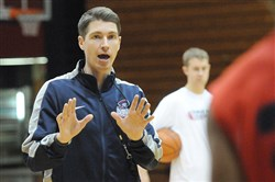 Robert Morris University basketball coach Andy Toole at a 2013 practice.