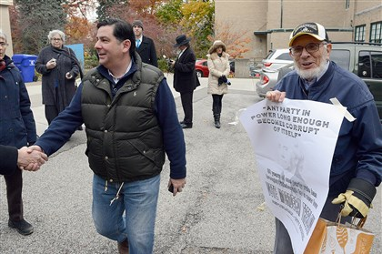 Bill Peduto votes Republican Pittsburgh City Council candidate Mordecai Treblow, right, was on hand as Bill Peduto, Democratic candidate for mayor of Pittsburgh, arrived to vote at the St. Bede School in Pittsburgh's Squirrel Hill neighborhood.