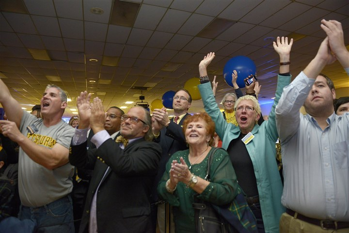 20131105jrPedutoLocal4 Bill Peduto supporters cheer for the new mayor during his victory party Tuesday at the Greater Pittsburgh Coliseum in Homewood.