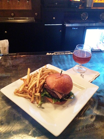 munch The Head Cheese Burger with a snifter of East End Nunkin Ale at The Urban Tap on the South Side.