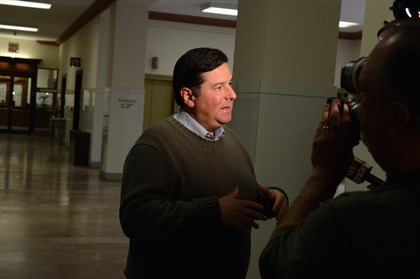 20131106lfElectionLocal03-2 Mayor-elect Bill Peduto conducts his first interview Wednesday at the City-County Building after winning Tuesday's election.