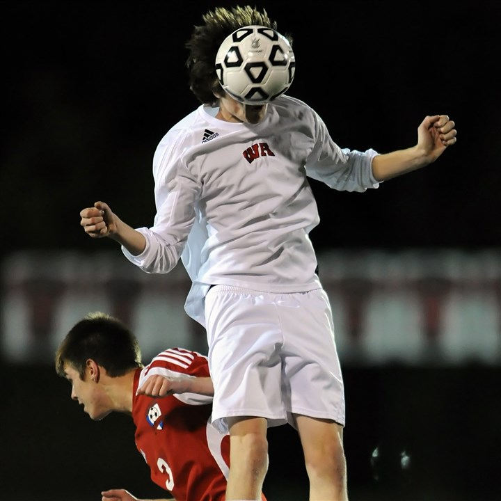 West Allegheny Soccer West Allegheny's Nick Jaroszynski heads the ball above Mount Pleasant's Zachary D'Amico during a WPIAL playoff game.