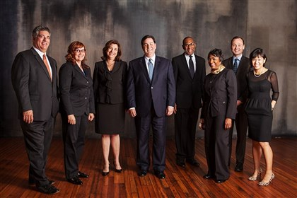 20131107hoPedutoExTeamLoc Bill Peduto (4th from Left), Mayor-elect of Pittsburgh with his cabinet (photo from www.ournewpittsburgh.com)