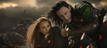 "Thor2 Natalie Portman and Tom Hiddleston star in ""Thor: The Dark World."""