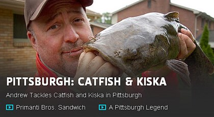 "zimmern1107_catfish The cover image for the Nov. 11 Pittsburgh segment of ""Bizarre Foods"" on Travelchannel.com."