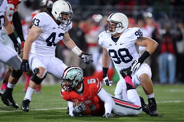 zettel1108-9 Penn State's Anthony Zettel, right, has four tackles for loss, two sacks and an interception.