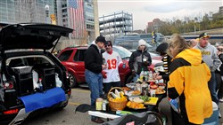 Steelers fans tailgate before a game in 2013.