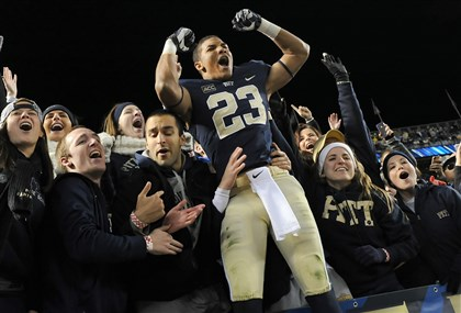 Pittfb1 Pitt's Tyler Boyd celebrates with the student section after defeating Notre Dame 28-21 at Heinz Field Saturday night.
