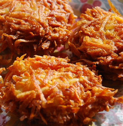 SweetfoodPotatoLatkes Sweet Potato Latkes.