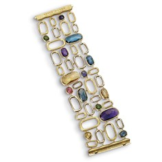 111213_stylebook01.jpg Murano bracelet with hand-engraved and polished 18-karat gold and mixed gemstones, $14,520.